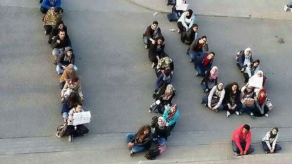 The GUC student protest at the death of classmate Yara Tarik in March. Foto: GUC-Insider via Twitter