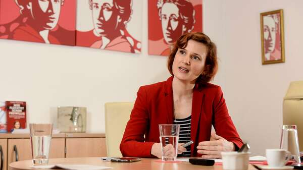 Linken-Chefin Katja Kipping beim Tagesspiegel-Interview. Foto: Mike Wolff
