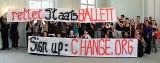 Protest des Berliner Staatsballetts. Foto: AFP
