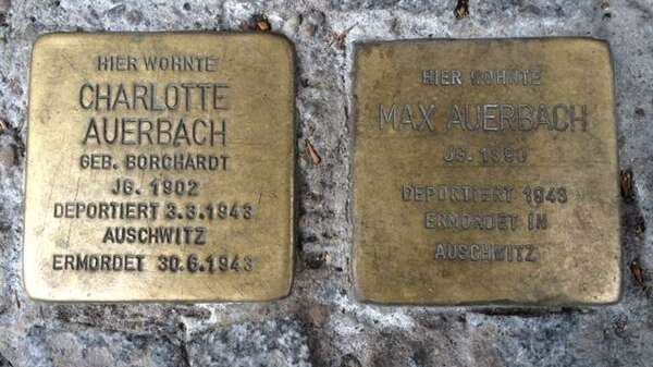 Stolpersteine in memory of Frank Auerbach's parents Charlotte and Max Auerbach who were killed by the Nazis. These stones are laid in front of Güntzelstraße 49 in Berlin's Wilmersdorf district, where Frank and his parents lived in the 1930s. Markus Hesselmann